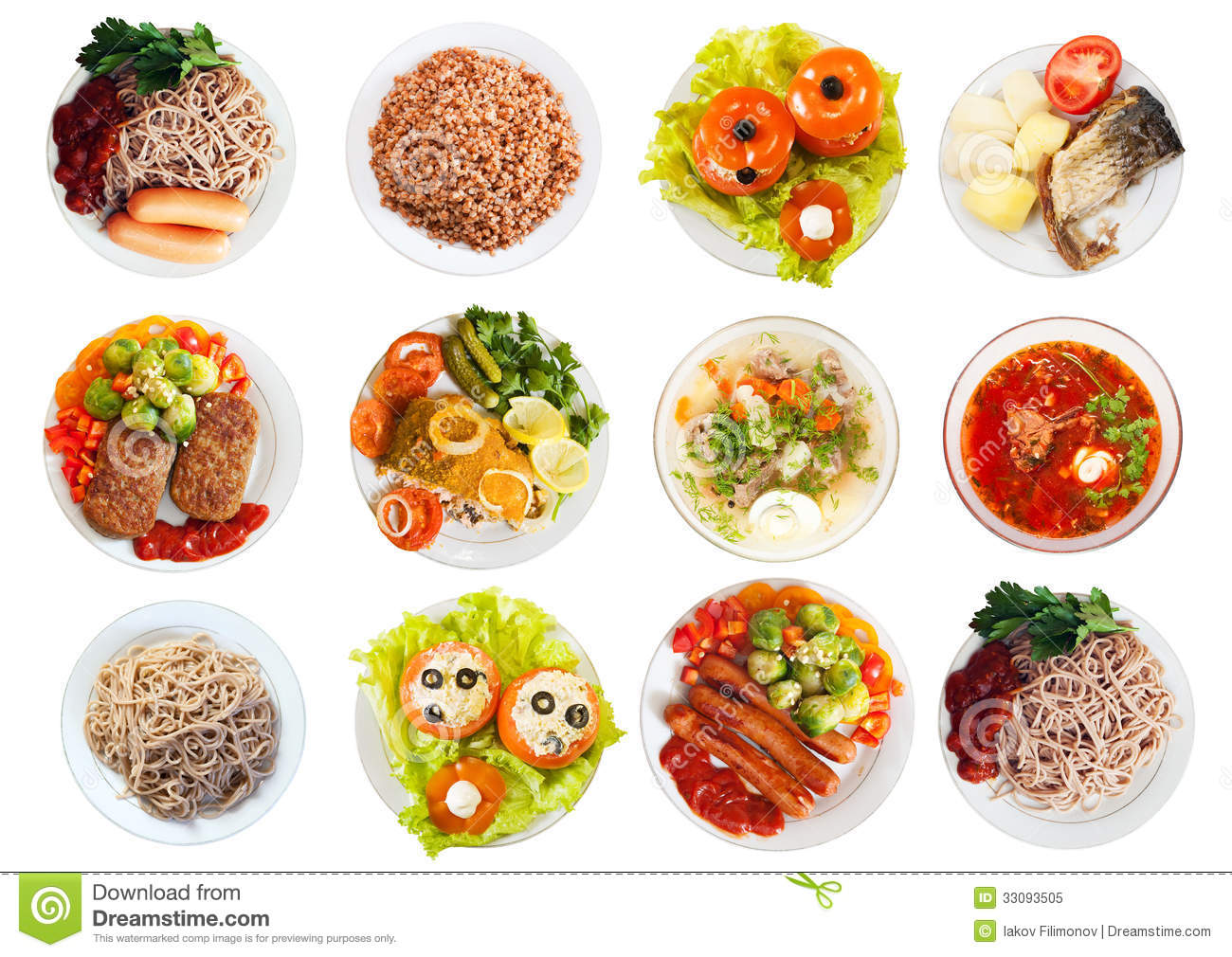Plate With Food Top View Top View Of Many Plates With Food Stock Image Image