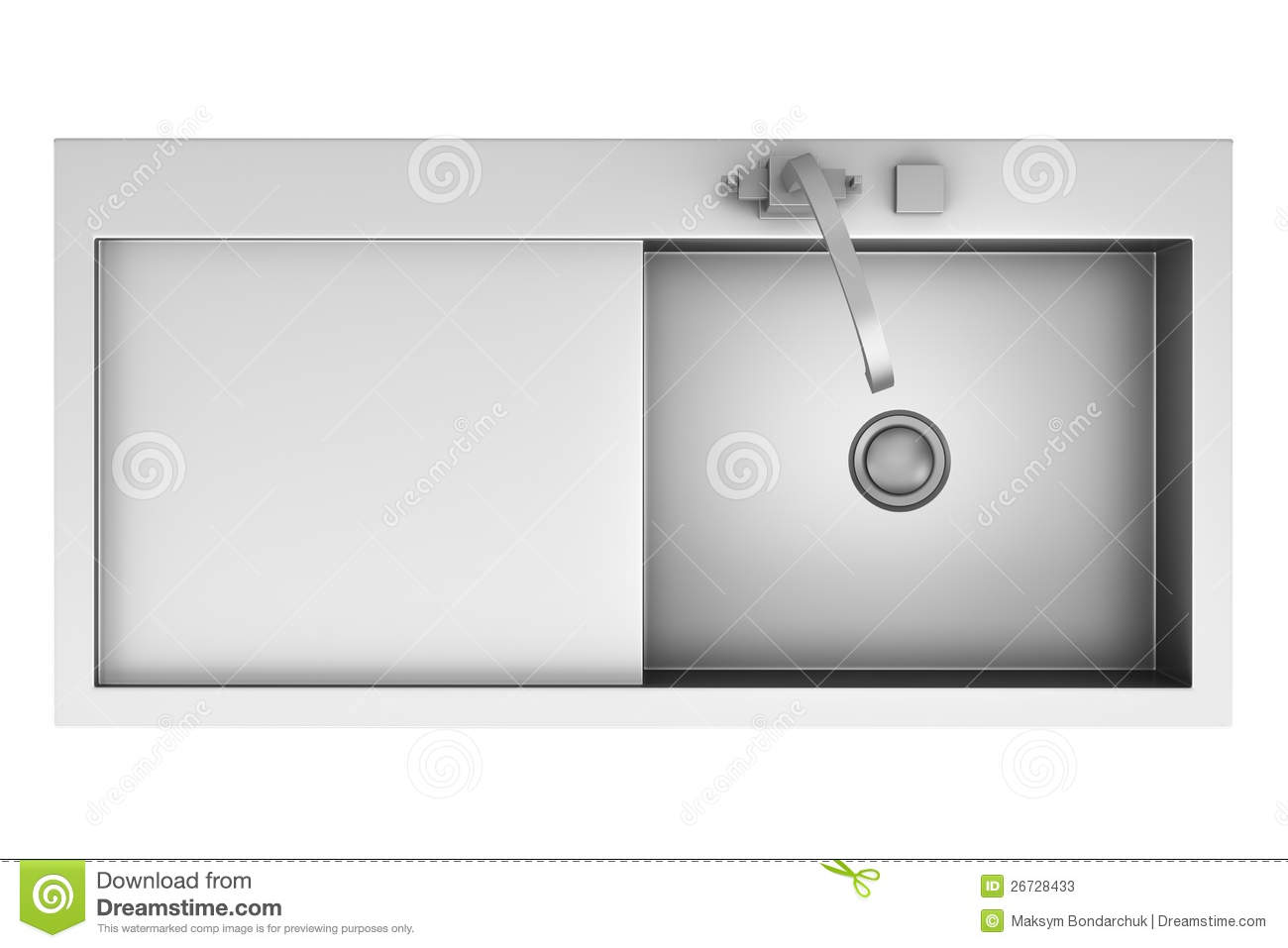Top view of modern metal sink isolated on white stock photos image