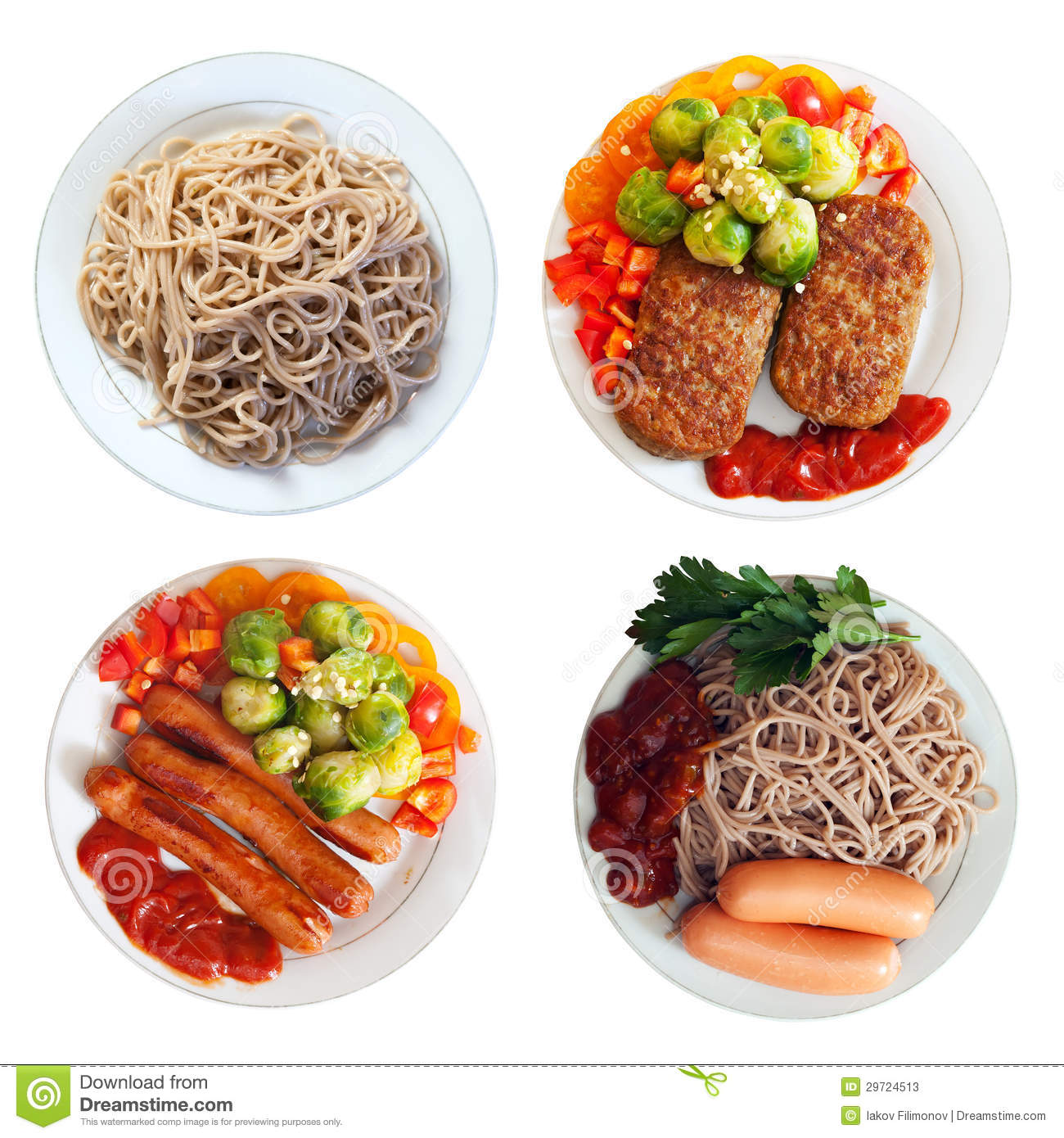 Plate With Food Top View Plates With Fast Food Stock Photos Image 29724513