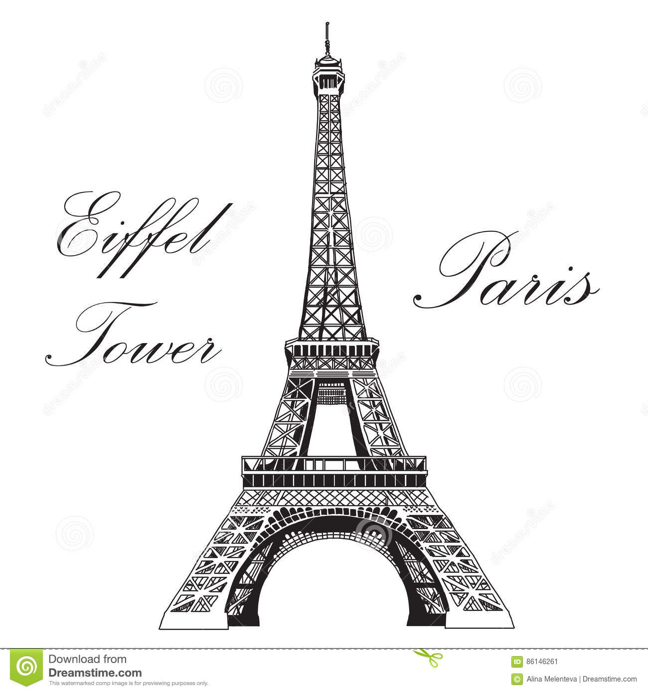 eiffel tower france drawing vector art