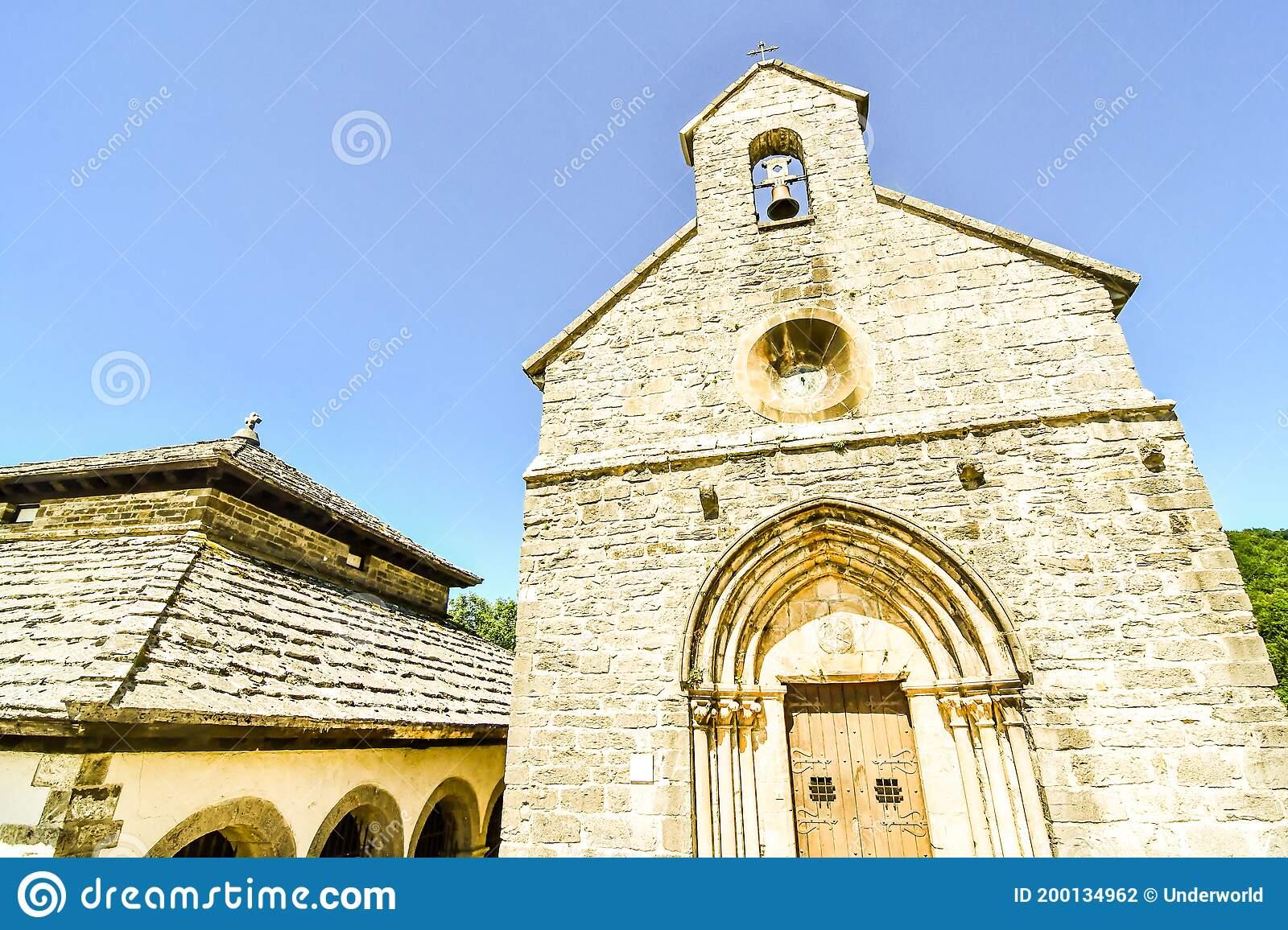 Tower Of The Church Photo As A Background In Navarra Aragon Zaragoza Spain Europe Roncisvalle Camino De Santiago City Stock Photo Image Of Architecture Zaragoza 200134962