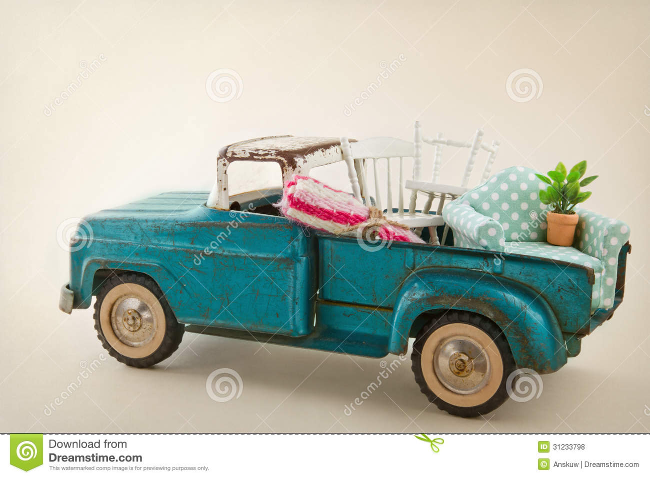Toy Moving Truck Toy Truck Packed With Furniture Royalty Free Stock Photos