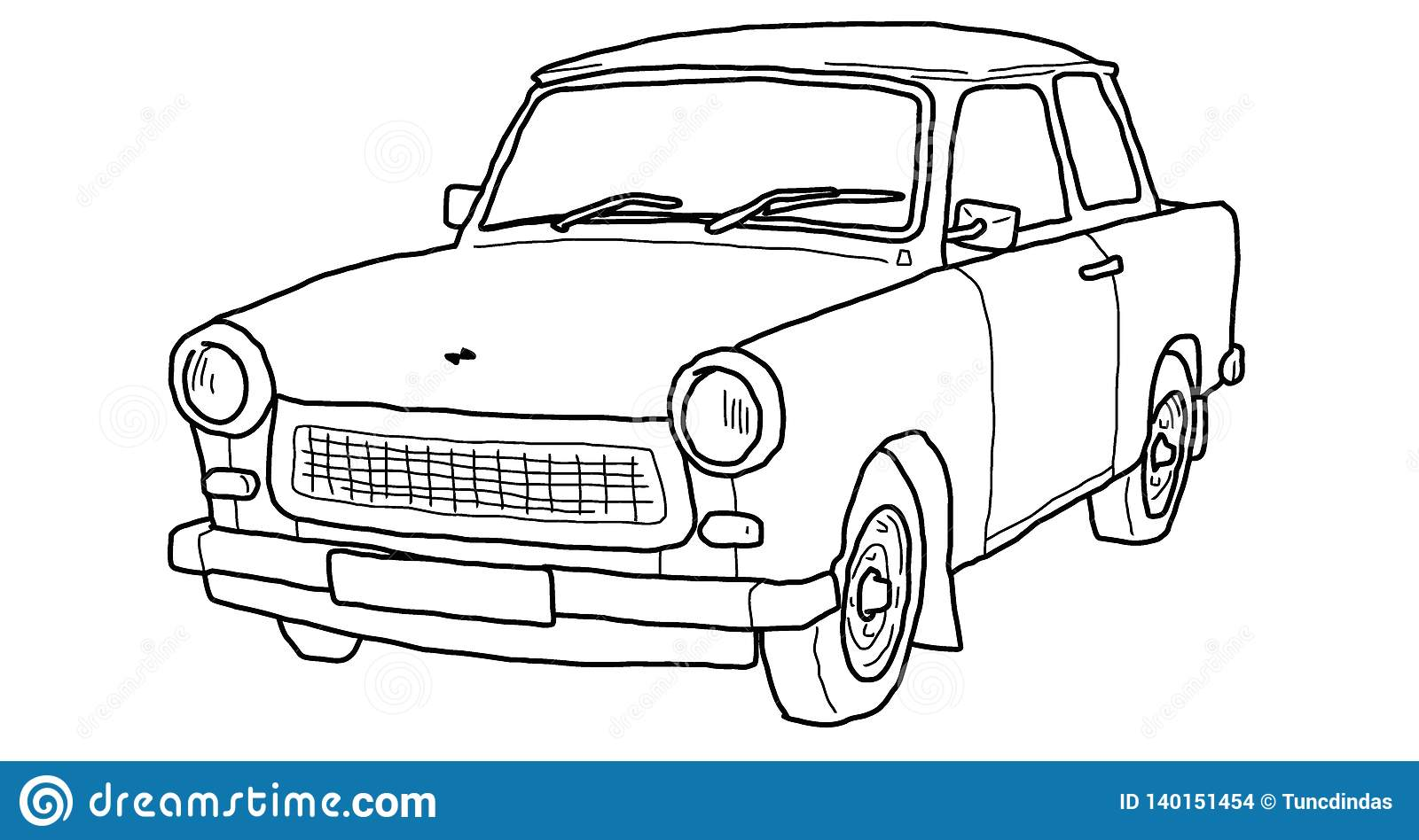 Trabant Clipart Trabant Line Art Sketch Retro Car Stock Vector Illustration Of