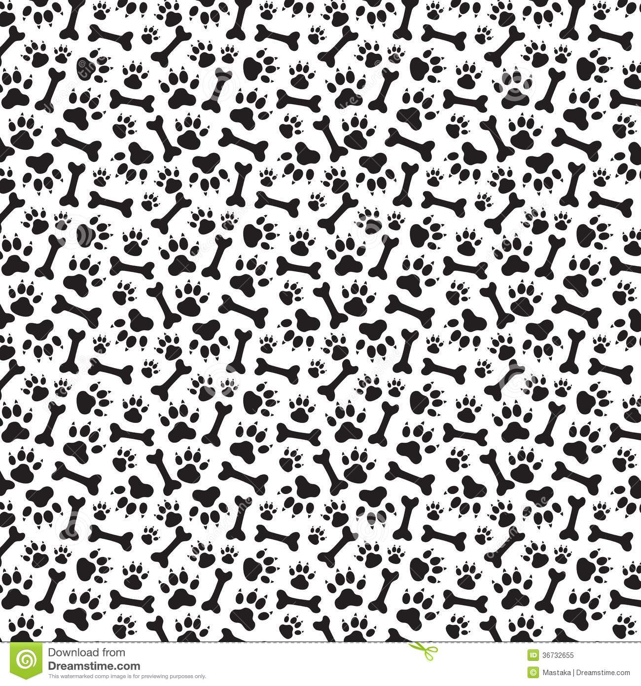 Cute Paw Print Wallpaper Traces Of Dog And Bones Seamless Royalty Free Stock Photo