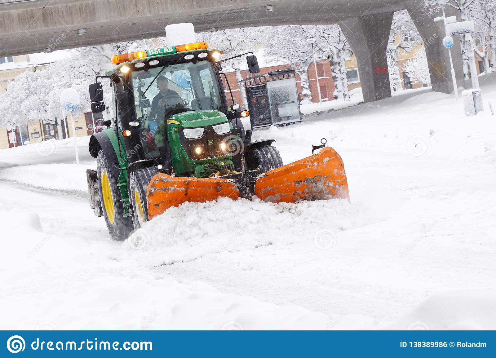 John Deere Snow Plow Tractor Plowing Snow Editorial Photo Image Of Green 138389986