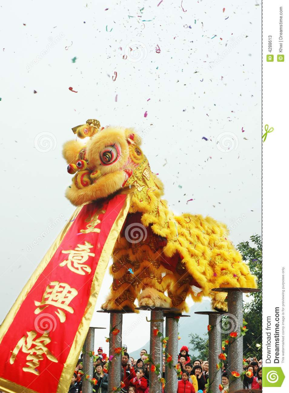 Asian Girl Wallpaper Traditional Chinese Lion Dance With Scroll Editorial Stock