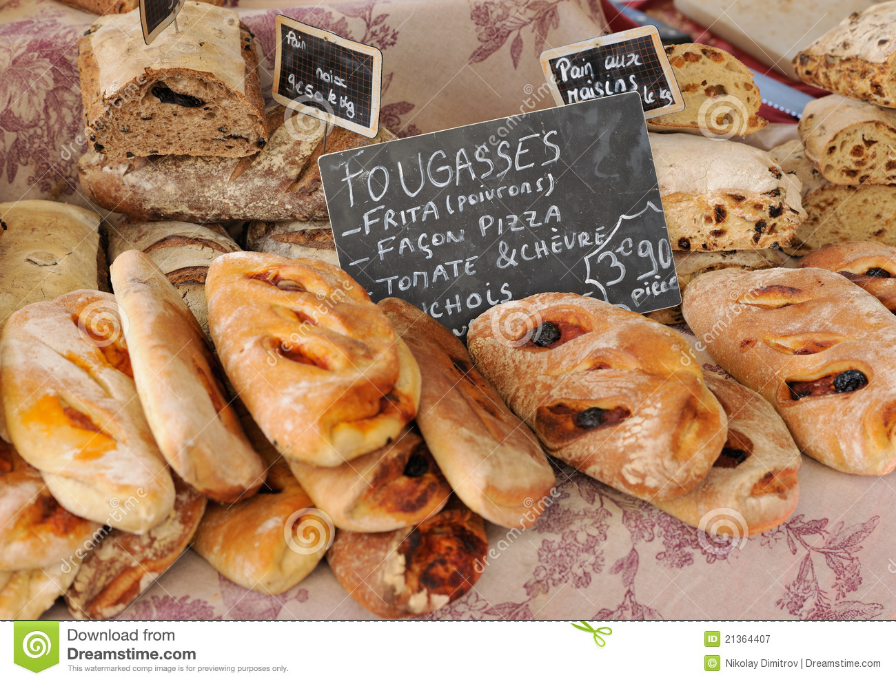 French Provincial Cuisine Traditional French Bread At Provence Market Stock Image