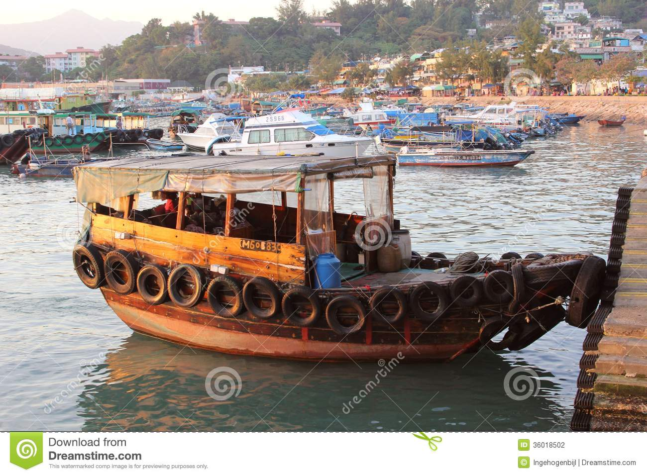 Hong Kong Ferry Vector Image Auto Electrical Wiring Diagram Raypak 1529 Traditional Wooden Junk In The Port Of Cheung Chau Island