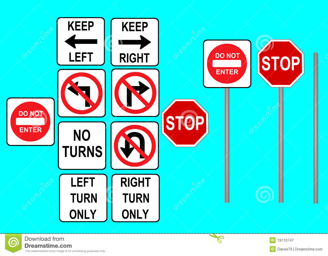 Turn Left And Right Traffic Sign Stock Photography Auto Electrical 12077867 Relay Wiring Diagram Bosch Signs Royalty Free
