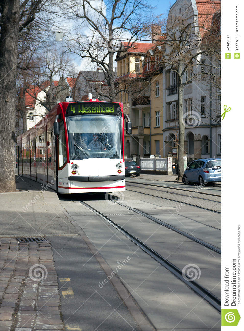 Bus Erfurt Tram On The Windthorststrasse Erfurt Thuringia Germany