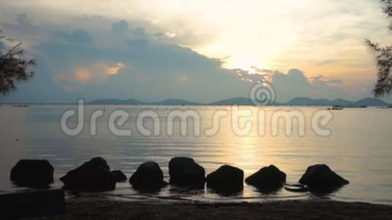 Tranquil Scene Of Sunrise With Cloudy Sky Over Seascape, Serenity