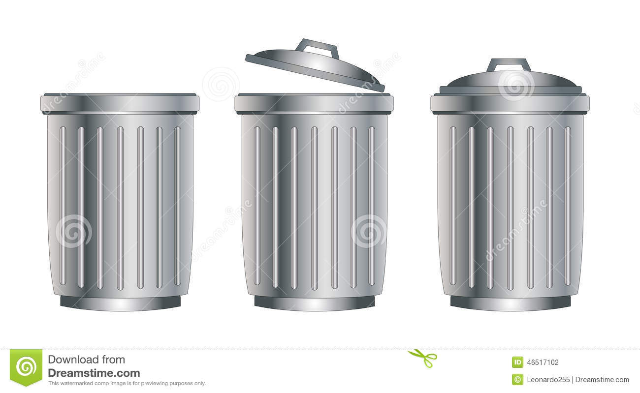 Silver Trash Cans Trash Can Silver Stock Vector Image 46517102