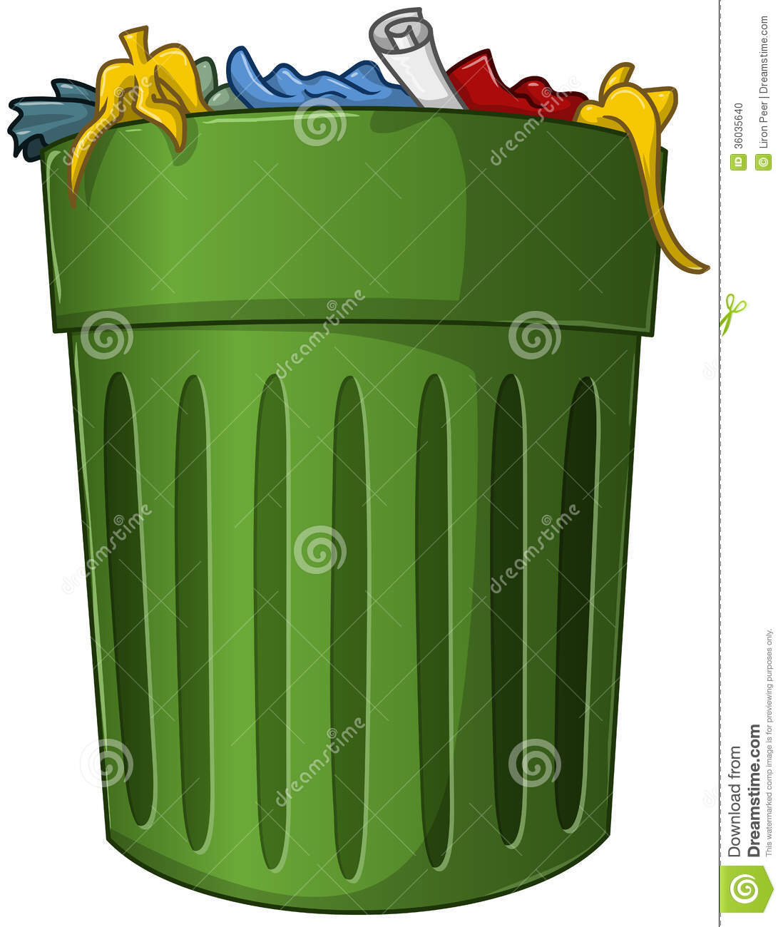 Big W Rubbish Bin Trash Can With Trash Inside Stock Vector Image 36035640