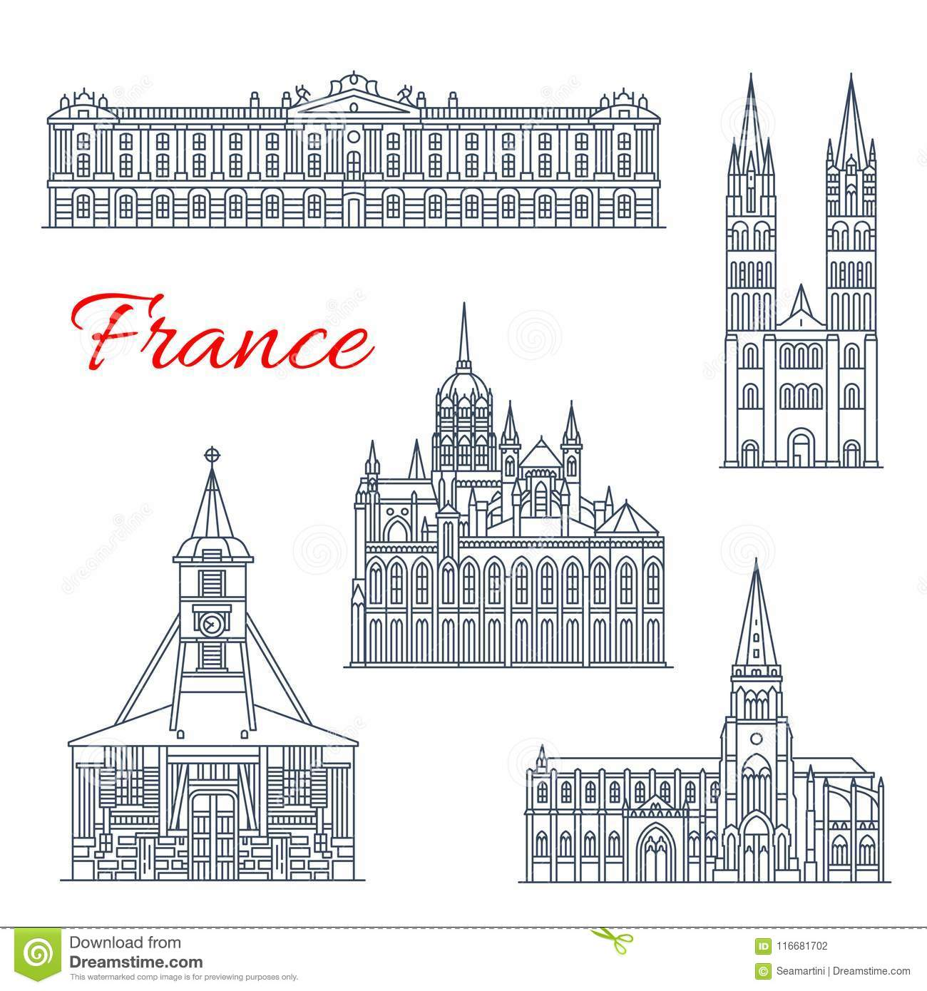 St Etienne Design Travel Landmark Of France Thin Line Icon Design Stock Vector