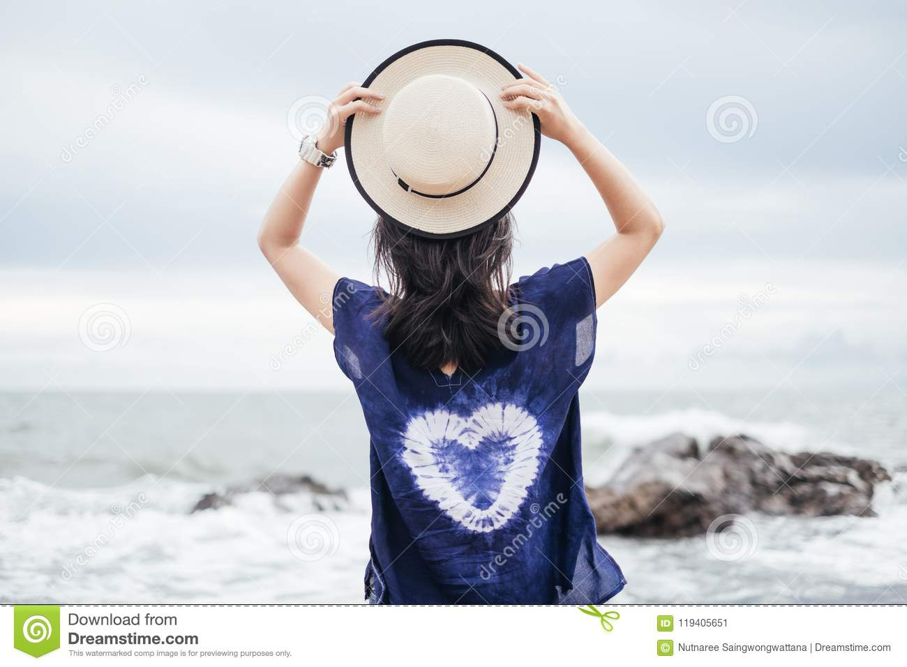 Hat Stand Freedom Traveler Young Woman In Casual Dress With Hat Stand Alone On Beach
