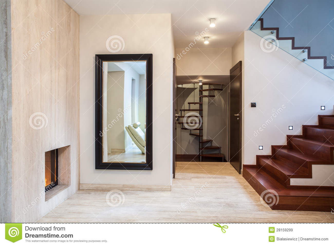 Huge Mirror Travertine House Mirror And Stairs Stock Image Image Of Real