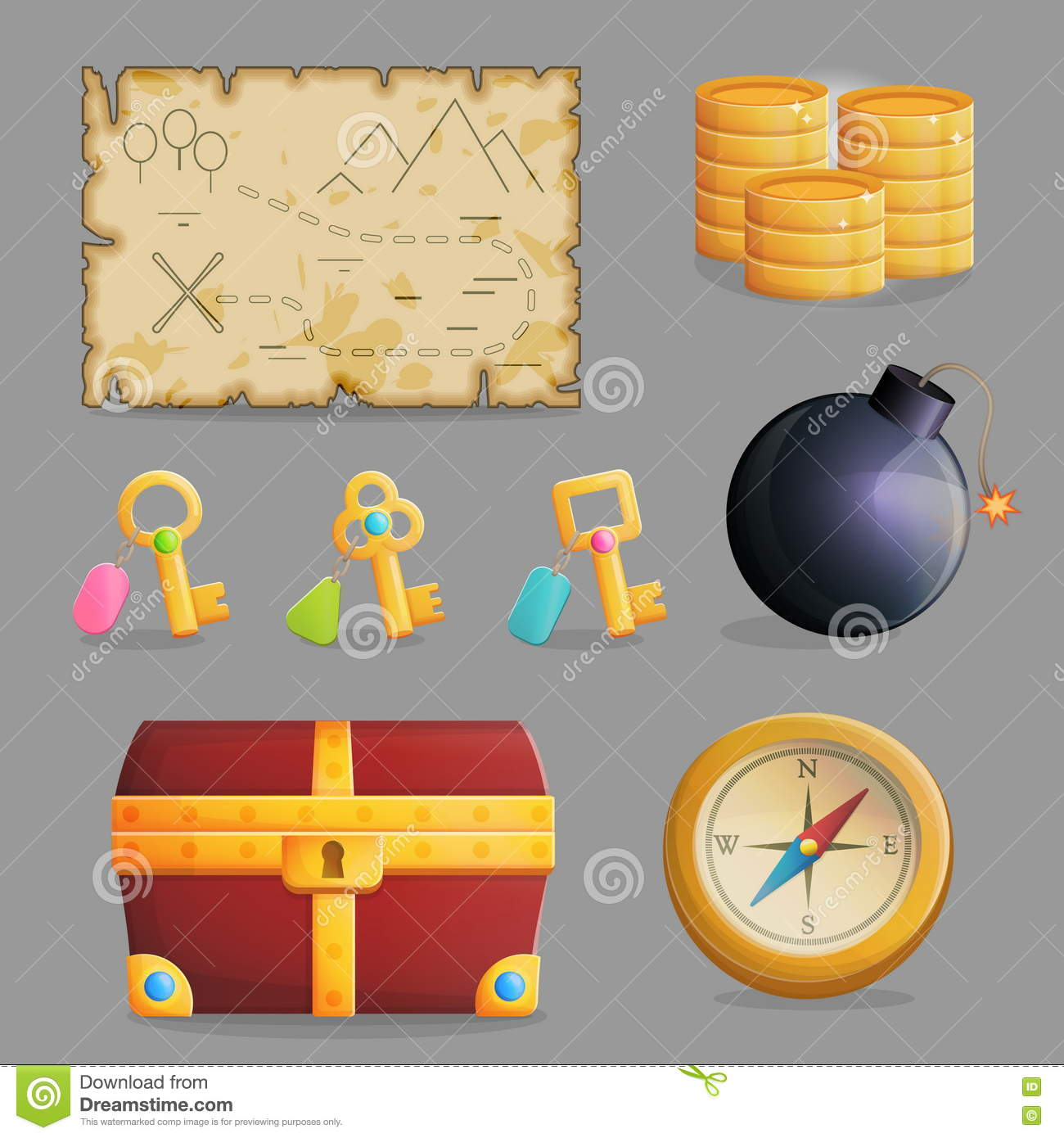 Chest Game Set Treasure Hunting Set Of Game Icons Stock Vector Image