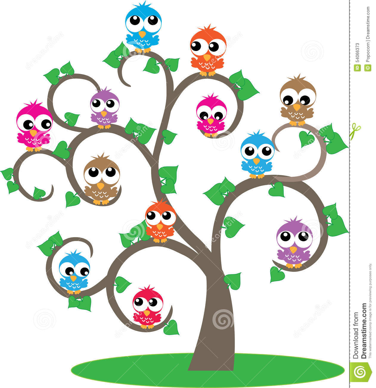 Fall Wallpaper With Owls A Tree Full Of Colorful Owls Stock Illustration Image