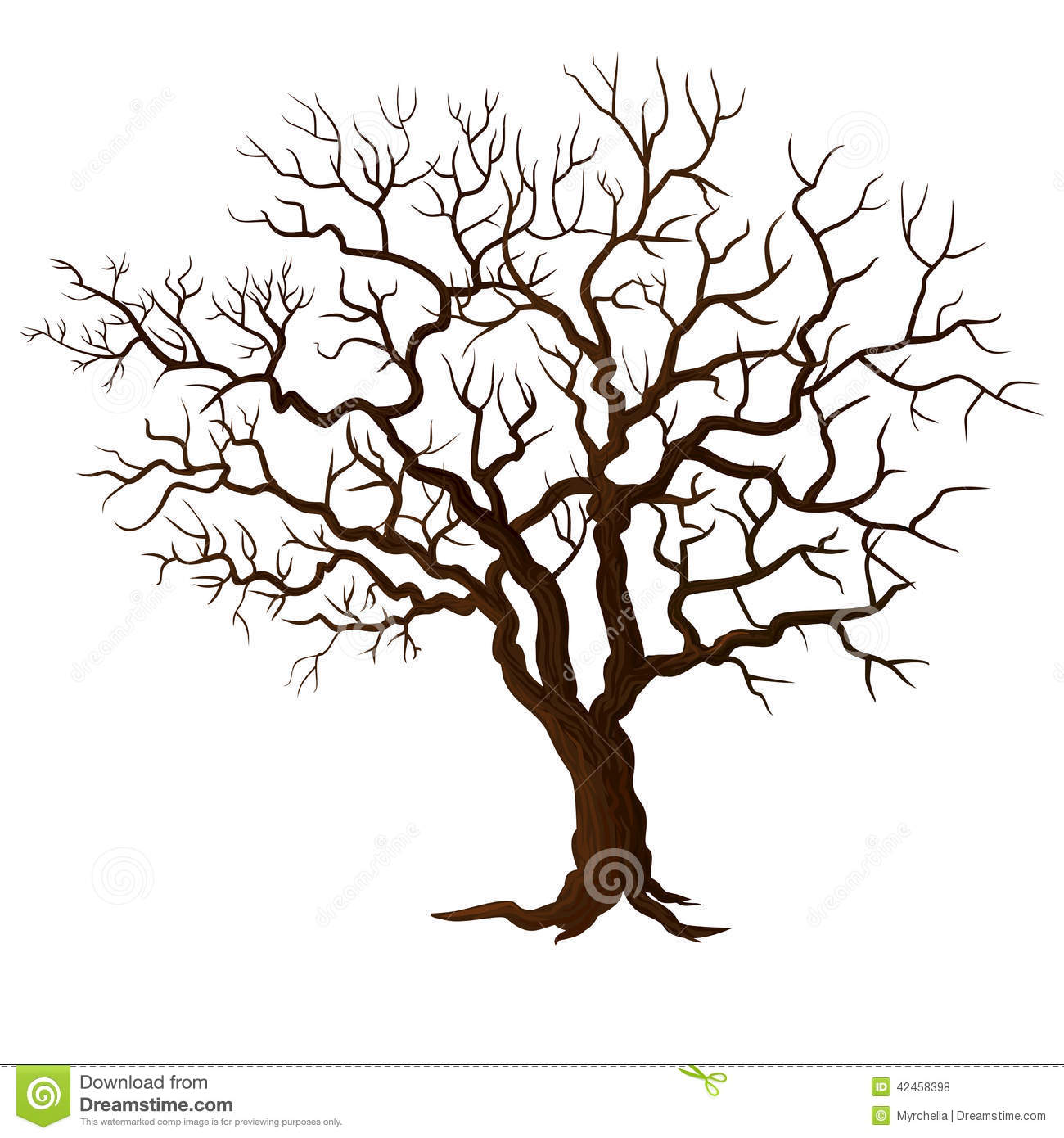 Hochzeit Leinwand Baum Tree Without Leaves Isolated On White Stock Vector