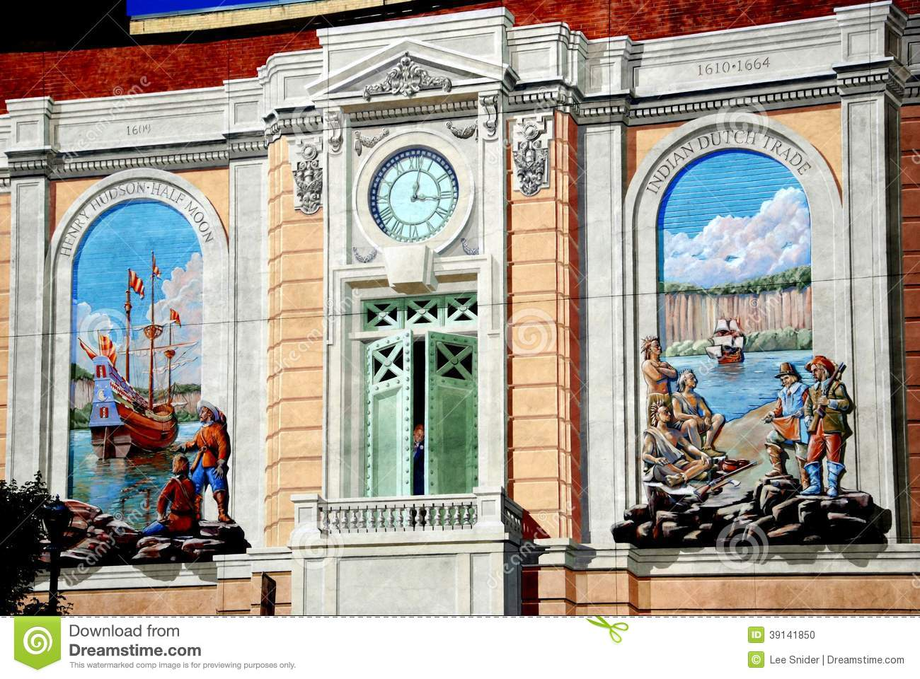 Trompe L Oeil Wall Murals   17th Avenue Building Century Half Henry Hudson L  Moon Murals. Download