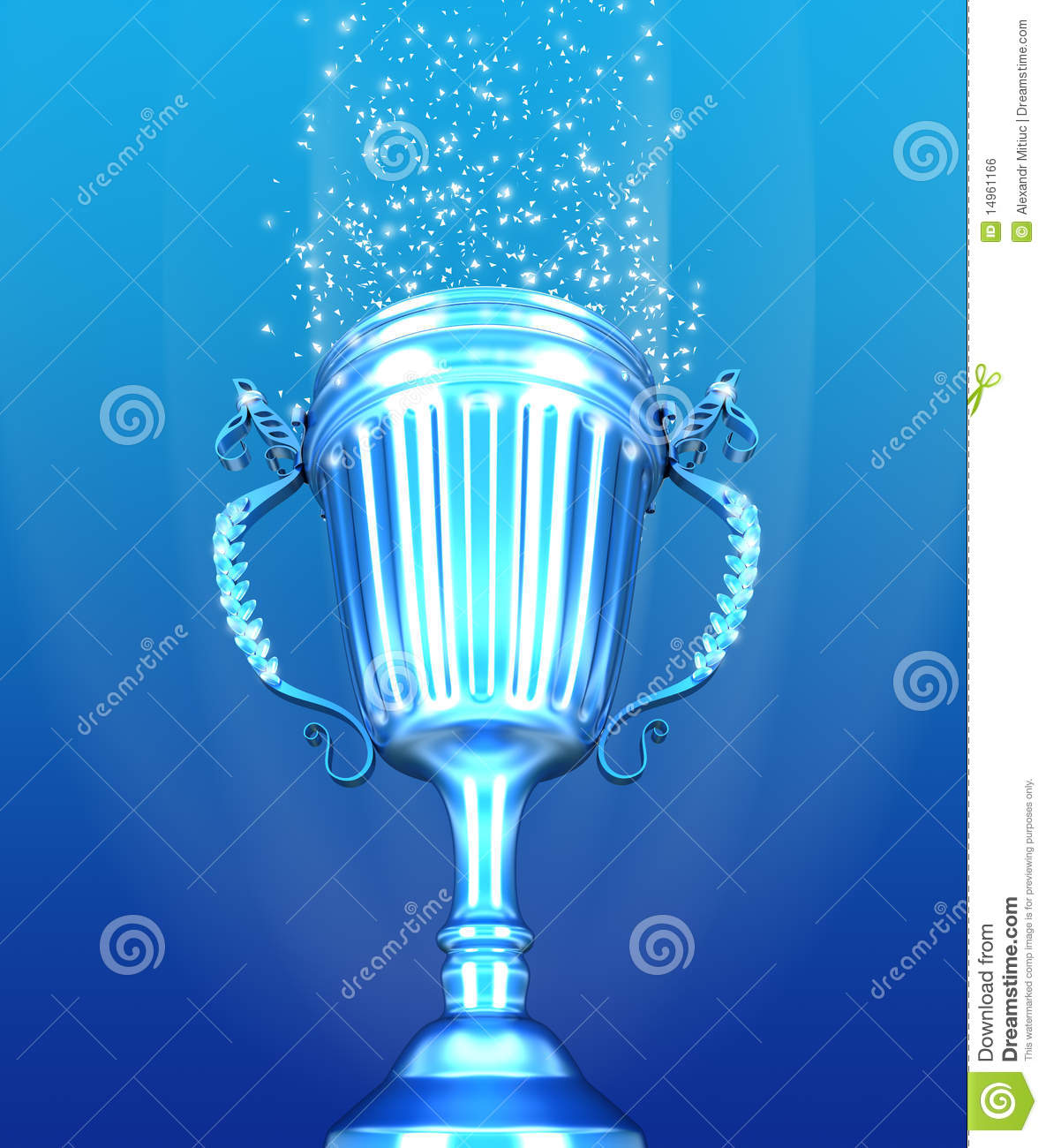 3d Metallic Wallpaper Trophy Cup And Confetti Over Blue Background Royalty Free