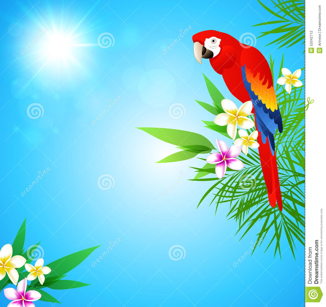 Animated Hd Wallpapers 1080p Free Download Tropical Background With Red Parrot Stock Vector Image