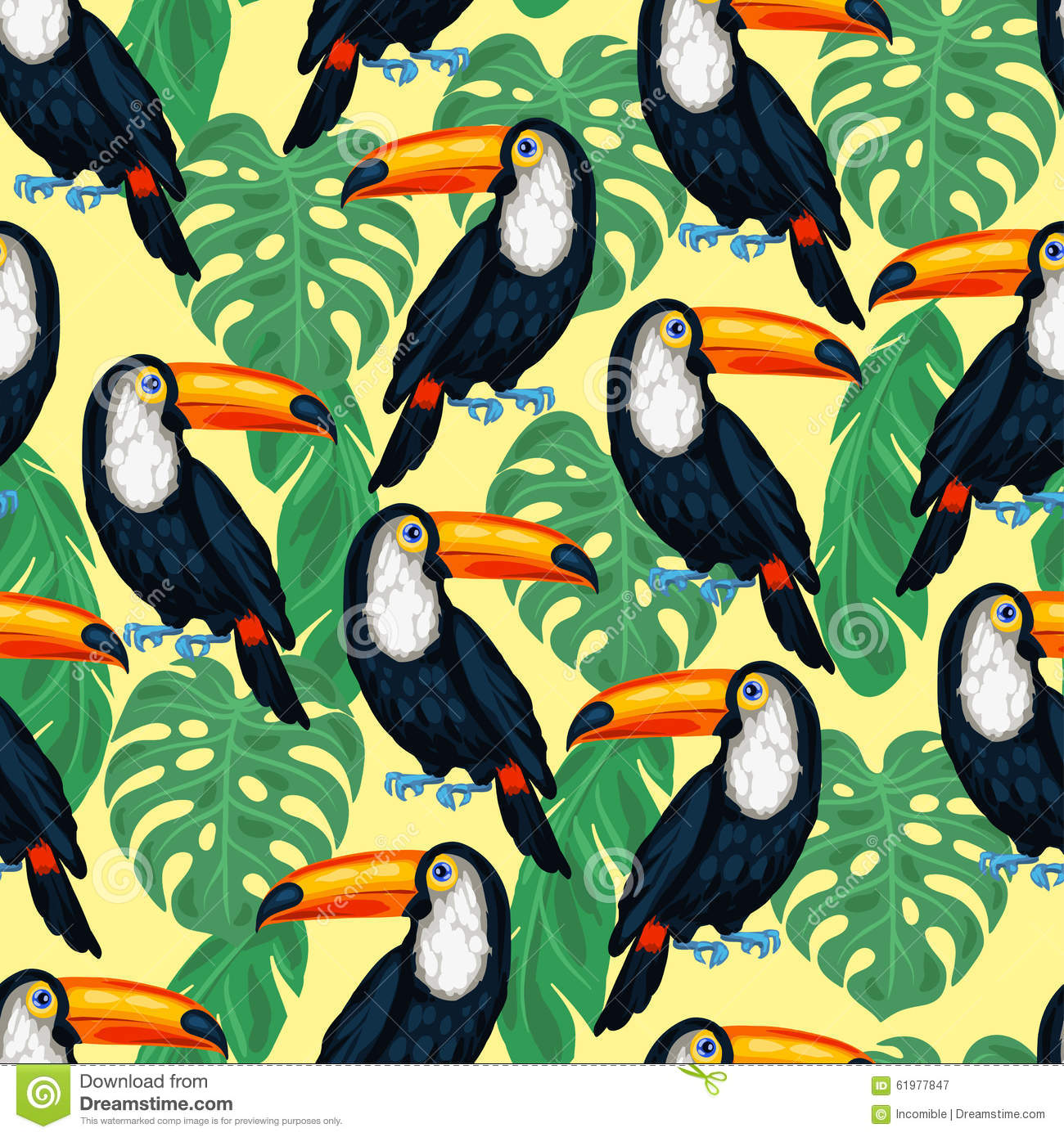 Bird Of Paradise Hd Wallpaper Tropical Birds Seamless Pattern With Toucans And Stock
