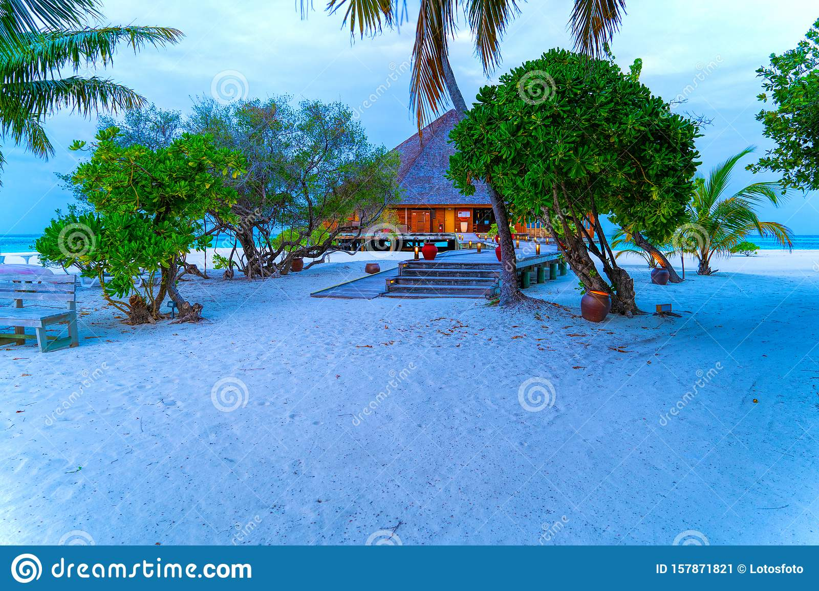 Tropical Bungalow On The Amazing Beach With A Palm Tree Stock Image Image Of Hotel Outdoors 157871821