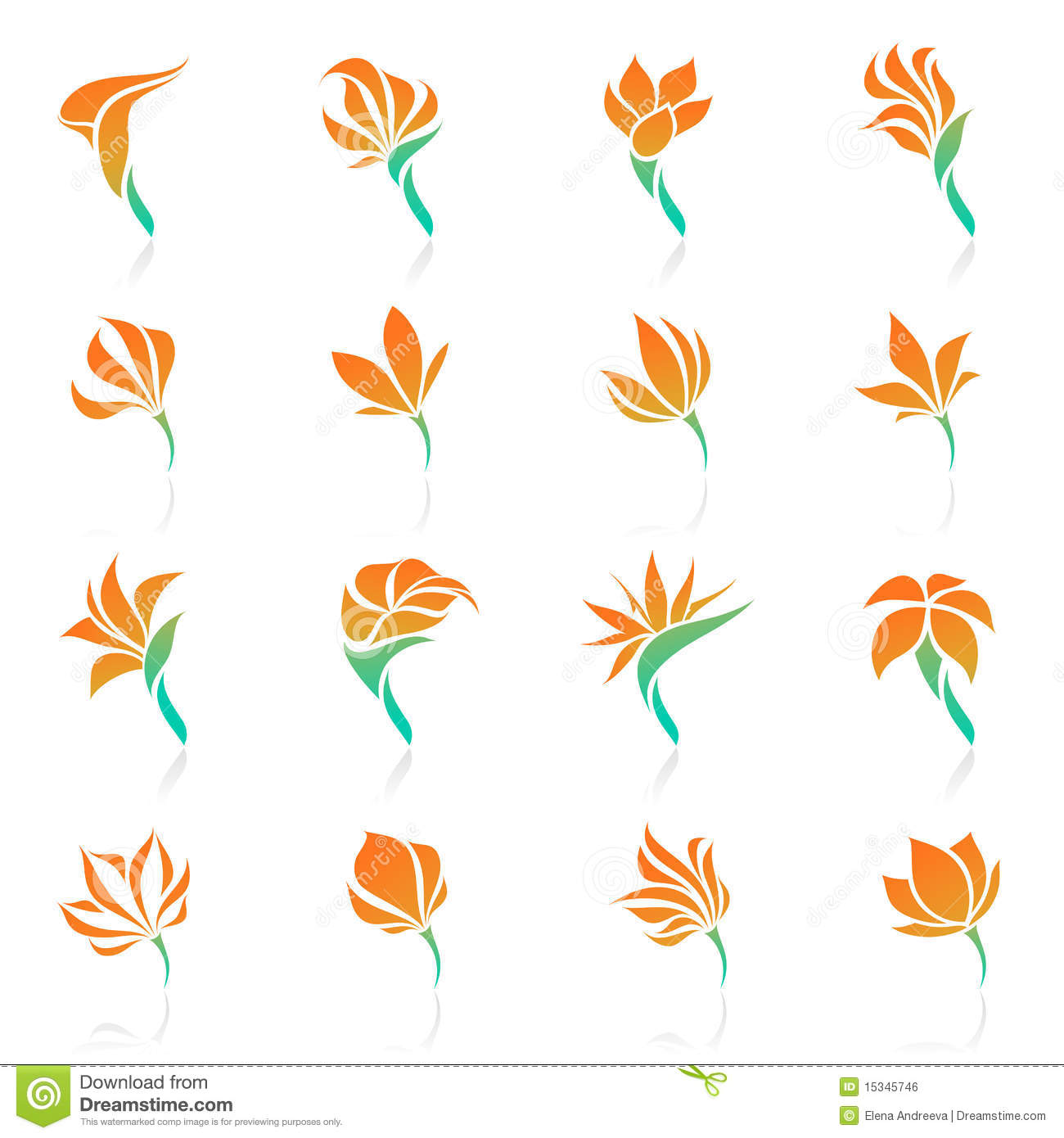 Calla Lily Flower Template Tropical Flowers. Vector Logo Template Set. Stock Vector