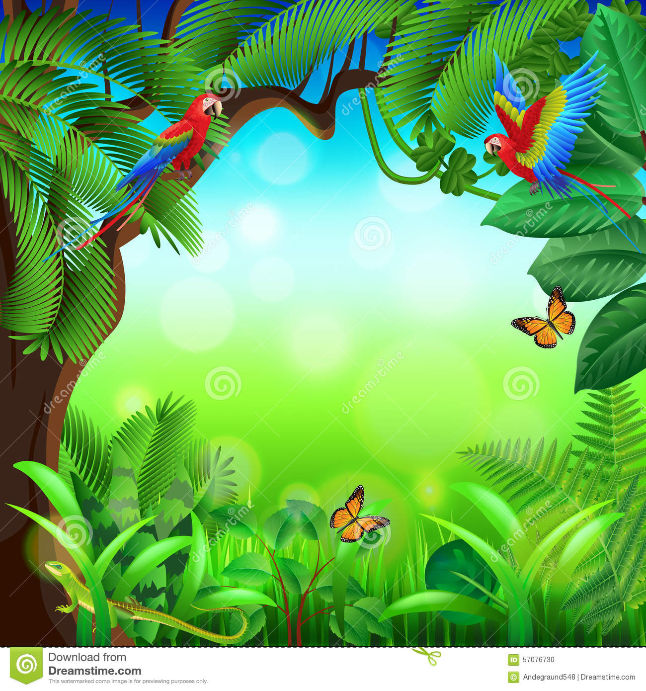 Free 3d Dinosaur Wallpaper Tropical Jungle With Animals Vector Background Stock