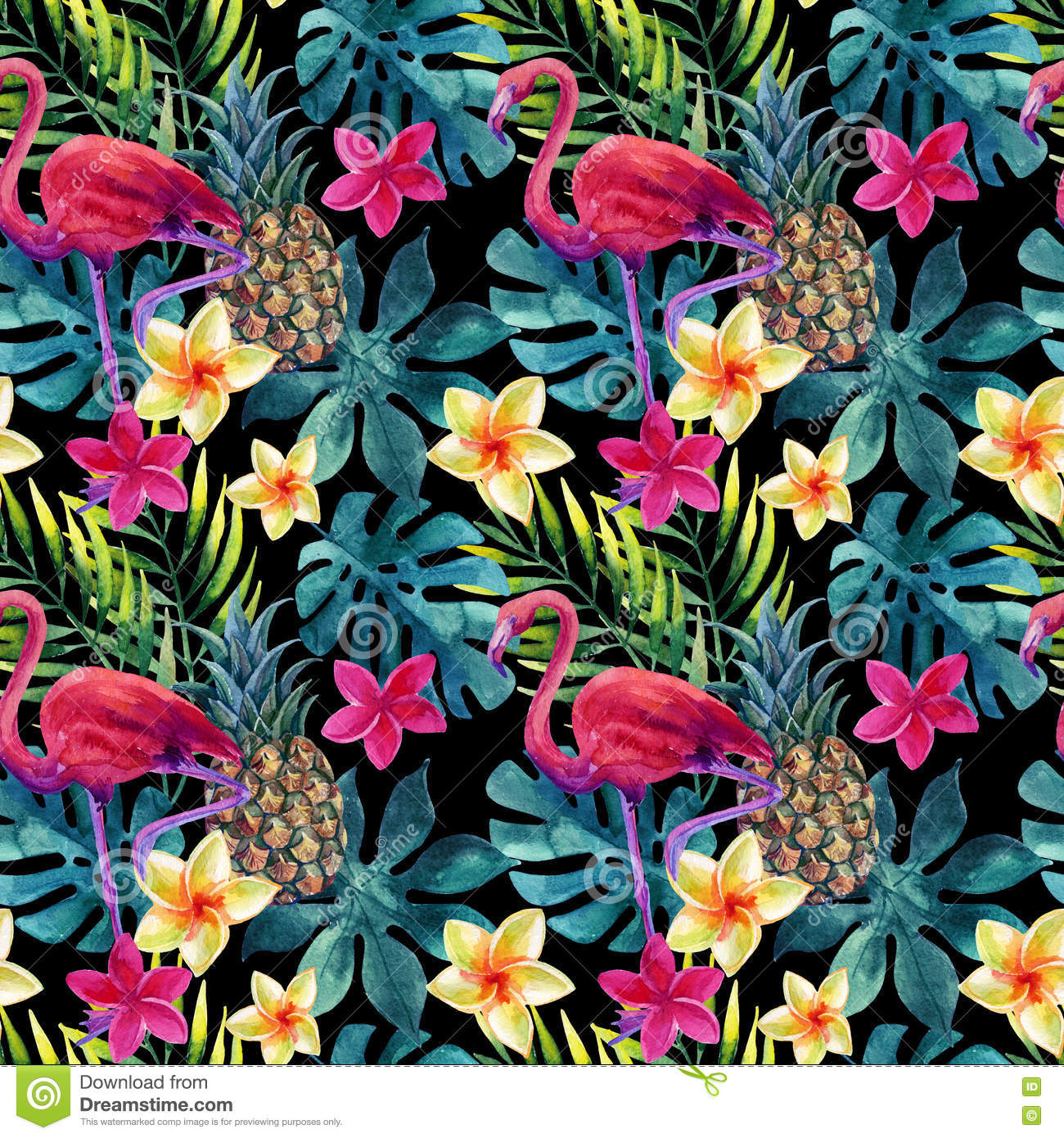 Animal Print Pink Wallpaper Tropical Watercolor Pineapple Flowers And Leaves With