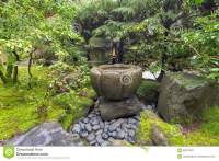Bamboo Water Fountain In Japanese Garden Stock Photography ...