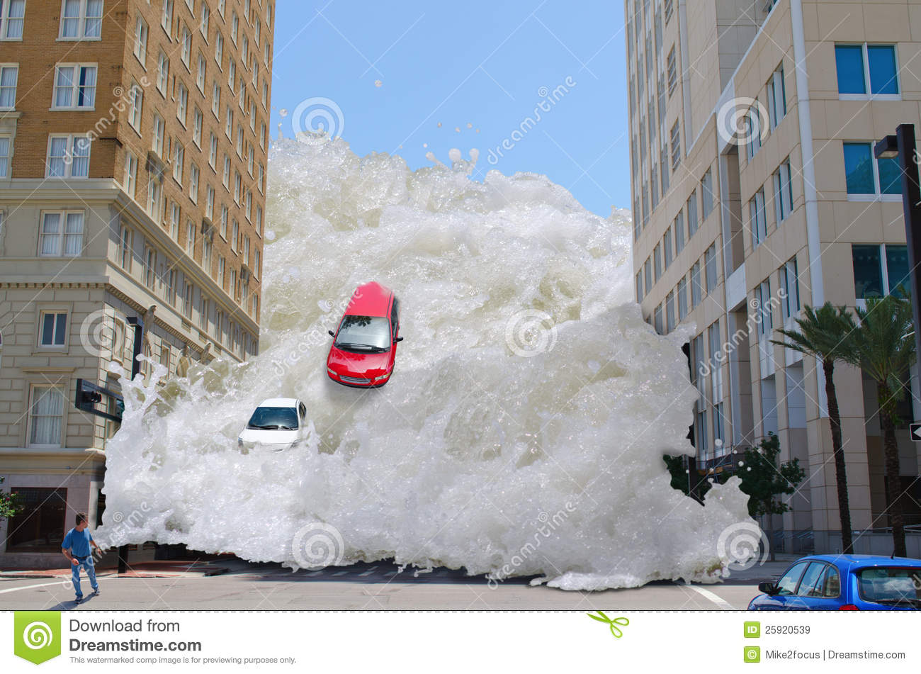 Tsunami tidal wave washing through a city street pushing cars out of