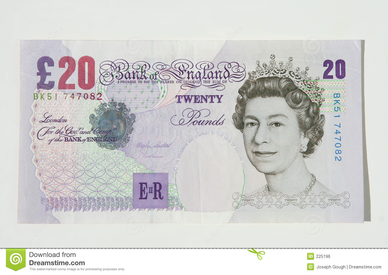 10 Libras Esterlinas Twenty Pound Note Uk Currency Editorial Photo Image Of