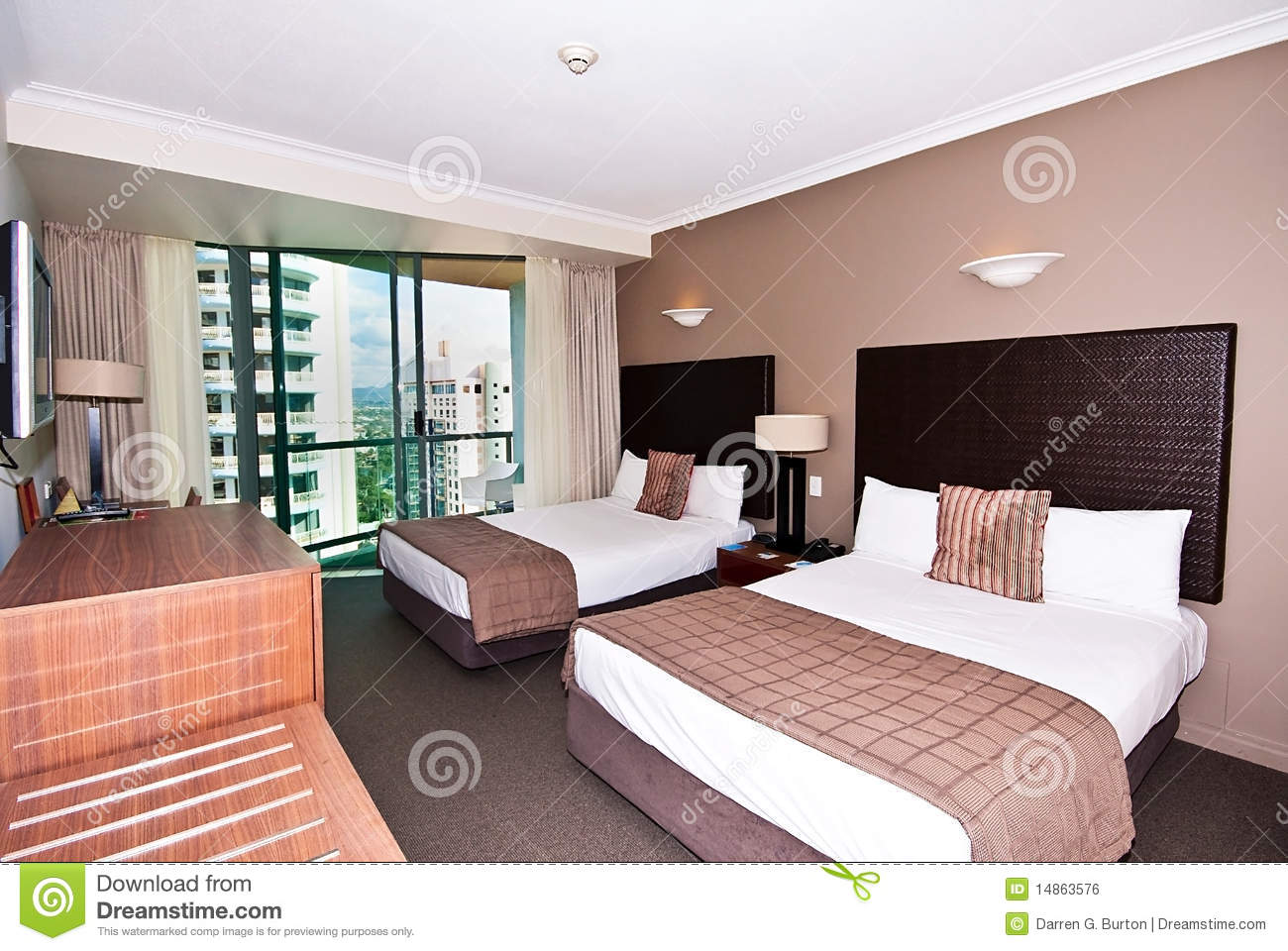 Twin Bed Hotel Room Stock Photo Image Of White Hotel