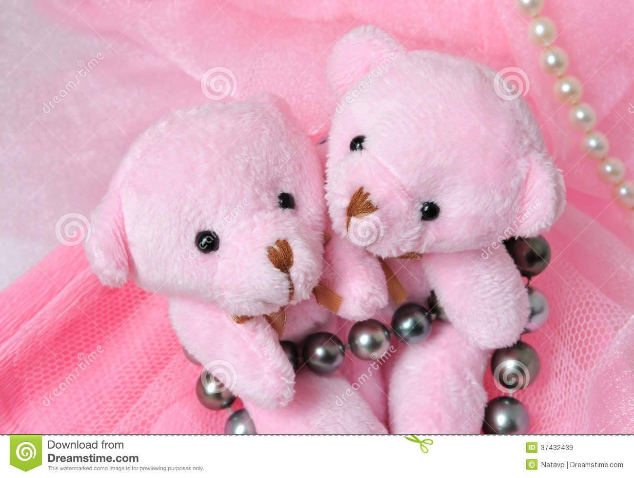 Cute Cartoon Face Wallpapers Two Amusing Pink Teddy Bear On Pink Background With Pearls
