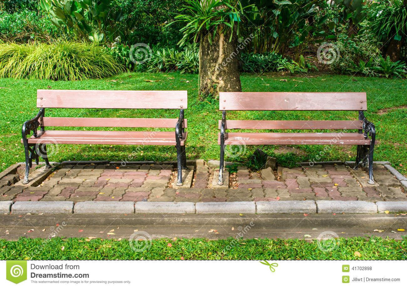 Wooden Park Benches Front Two Bench Seat Wood Stock Photo Image 41702898