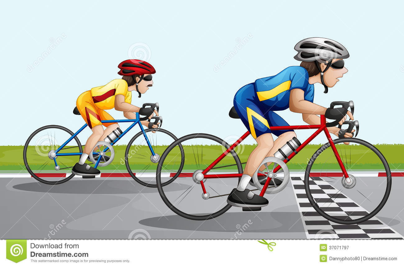 Racing Bicycle Clipart Two Bikers Racing Stock Vector Illustration Of Cartoons