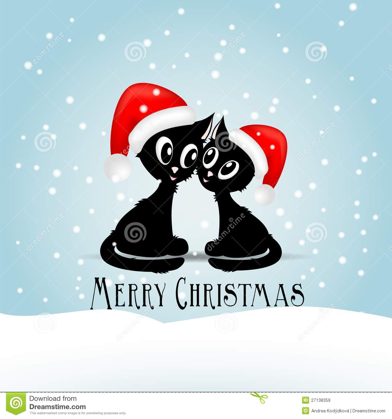 Snoopy Cute Wallpaper Two Cute Black Cats Vith Red Christmas Caps Royalty Free
