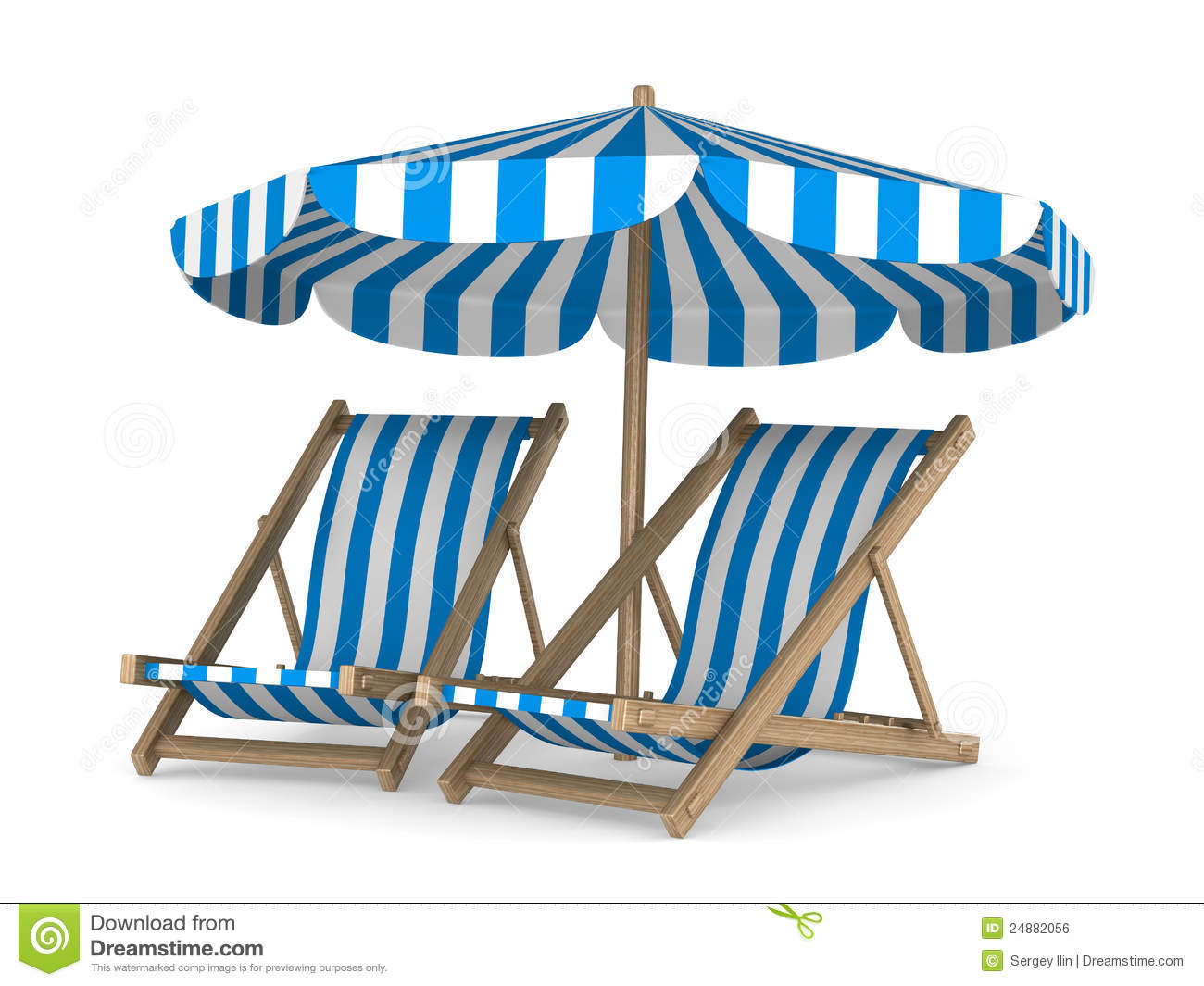 Clipart Liegestuhl Two Deckchair And Parasol On White Background Stock