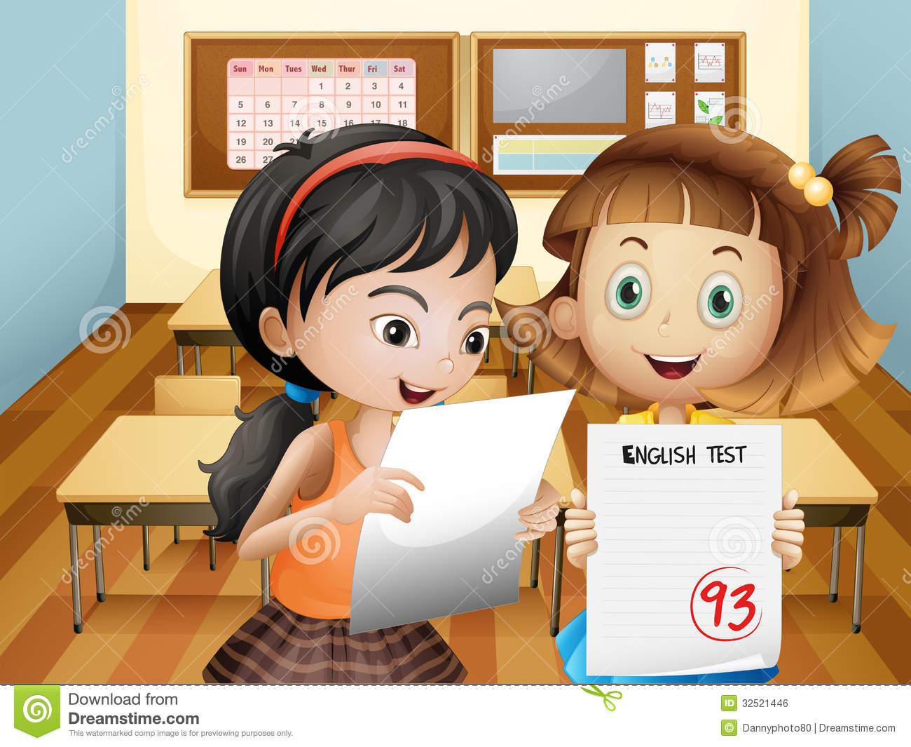 Tisch School Of The Arts Board Of Directors Two Girls Holding Their Exam Results Stock Vector