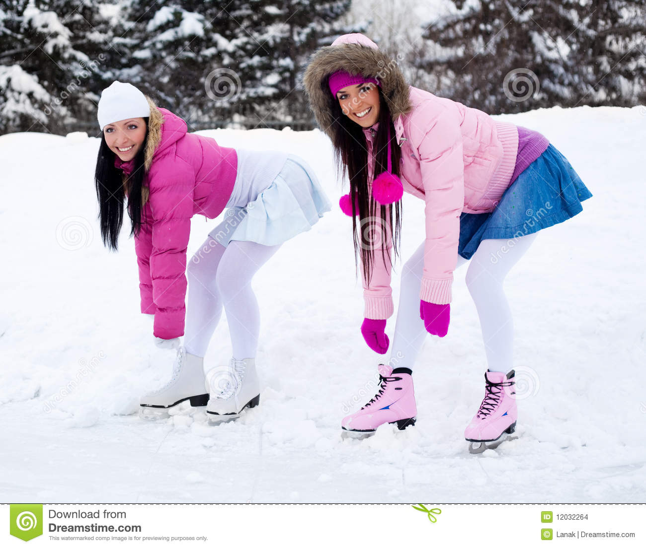 Girl Skate Wallpaper Two Girls Ice Skating Stock Images Image 12032264