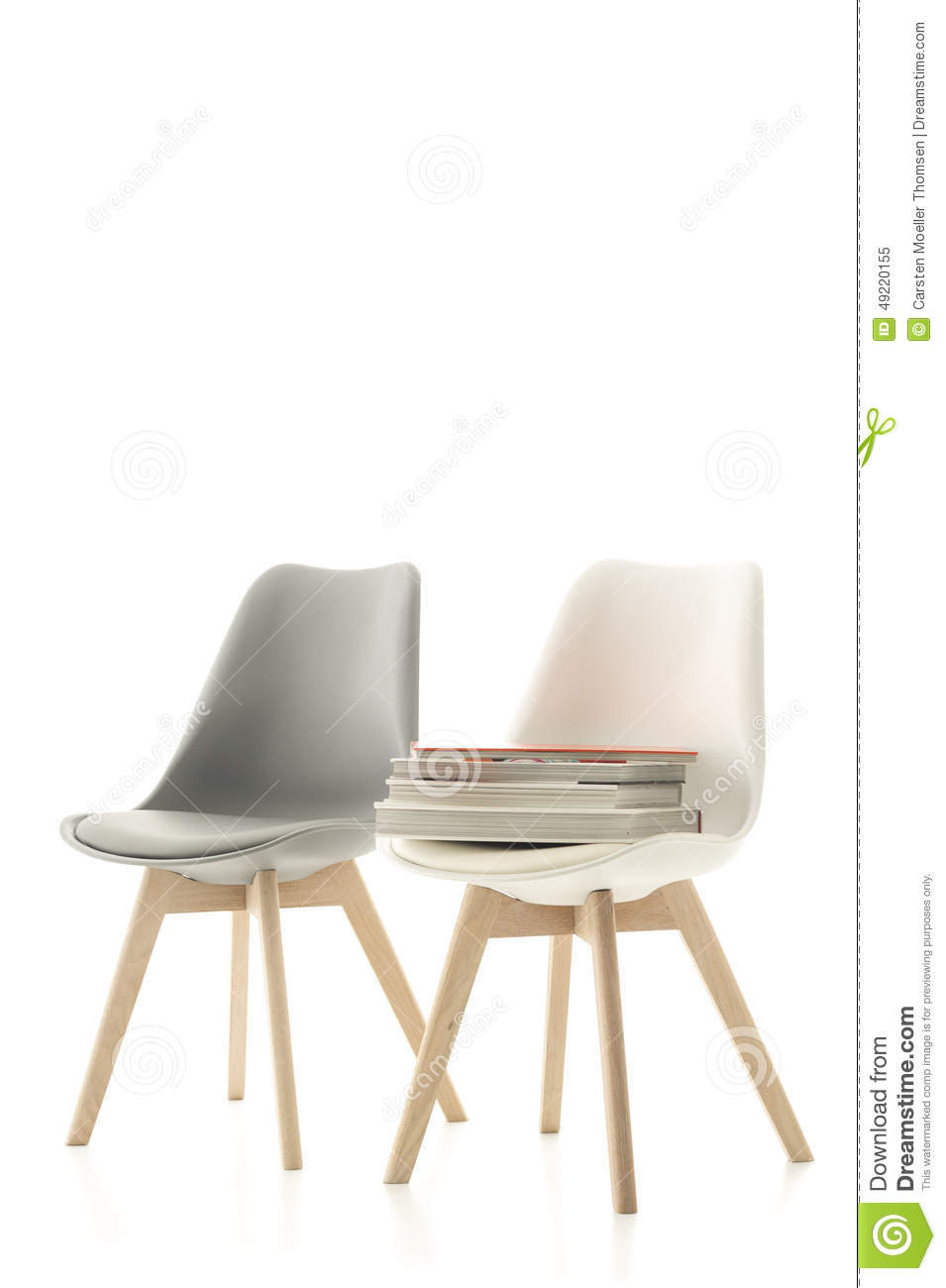 Essstühle Modern Two Modern Chairs With A Pile Of Books Stock Photo 49220155 Megapixl