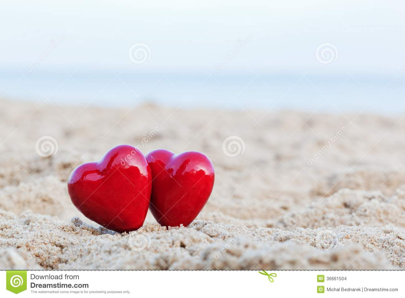 Valentine Wallpaper Iphone X Two Red Hearts On The Beach Love Stock Photo Image Of