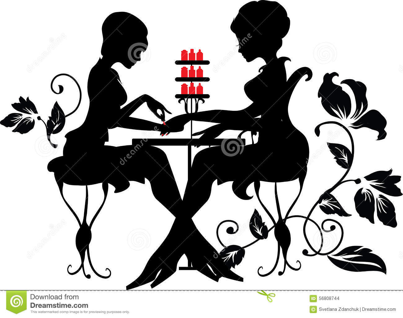 Black Floral Wallpaper Two Silhouettes Of Woman In Manicure Process Stock Vector