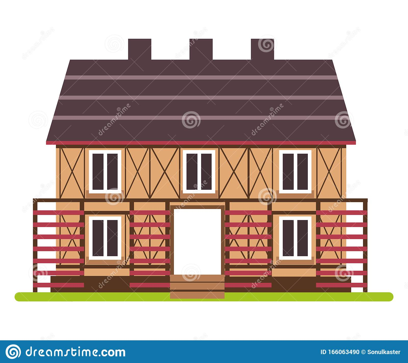 Two Story Farm House With Timber Framing Front View Stock Vector Illustration Of Building Exterior 166063490