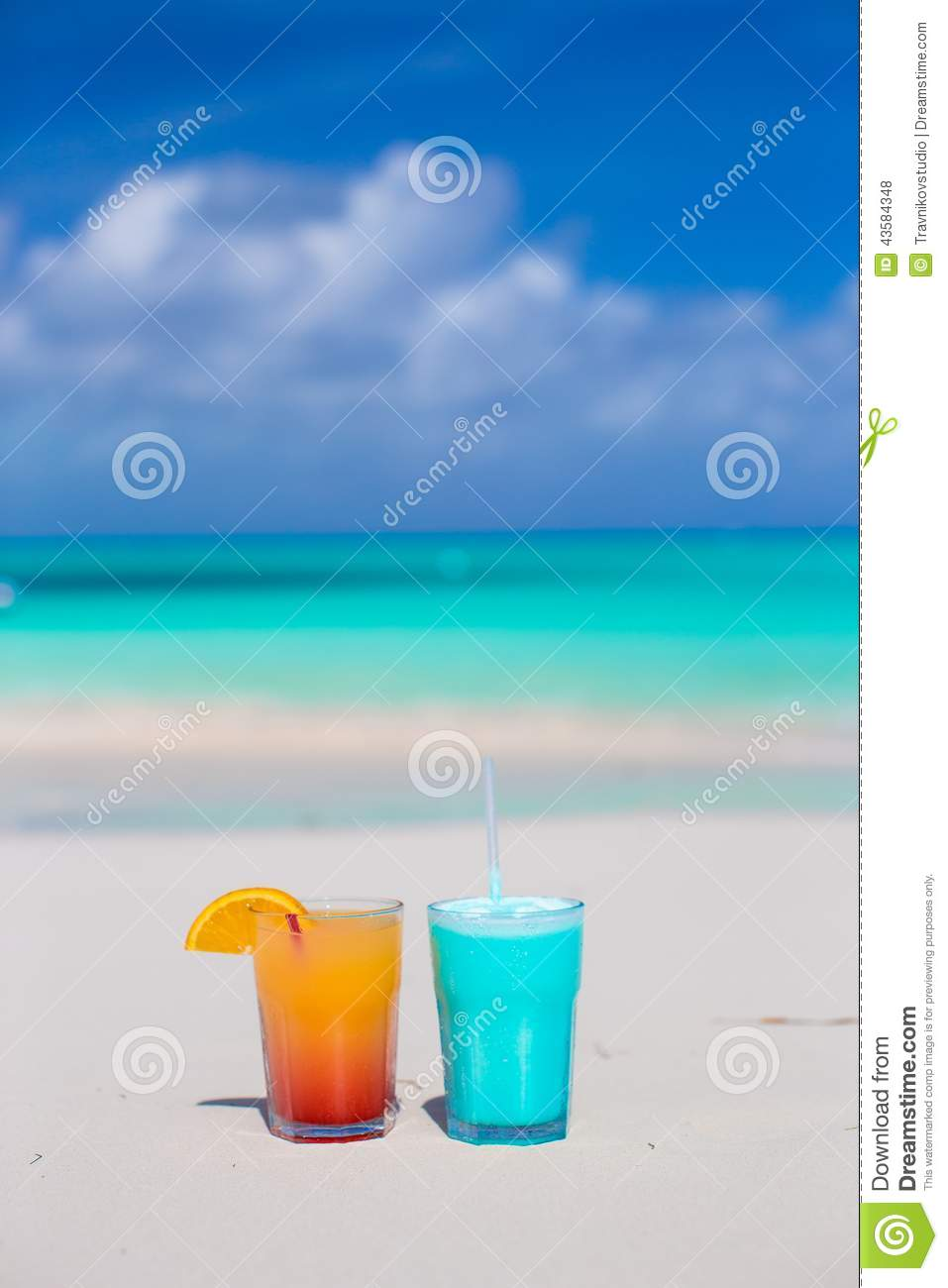 Blue Curacao Cocktail Alkoholfrei Two Tasty Cocktails On The White Sandy Beach Stock Photo Image