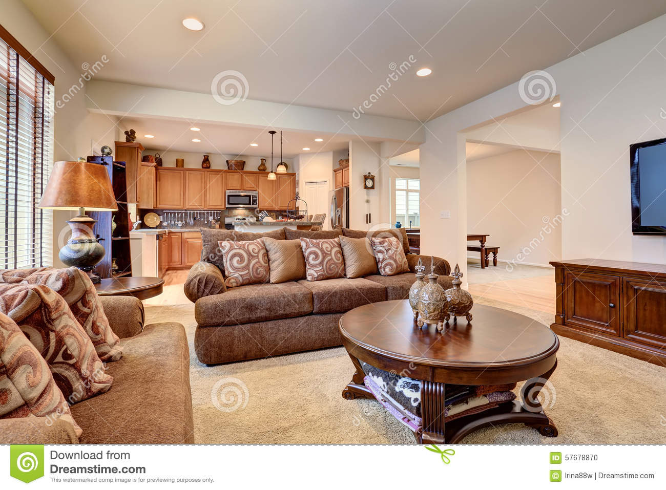 American Wohnzimmer Typical Living Room In American Home With Carpet And