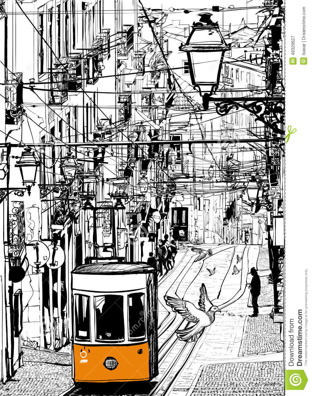 Hd Pigeon Wallpaper Typical Tramway In Lisbon Near Chiado Square Stock Vector