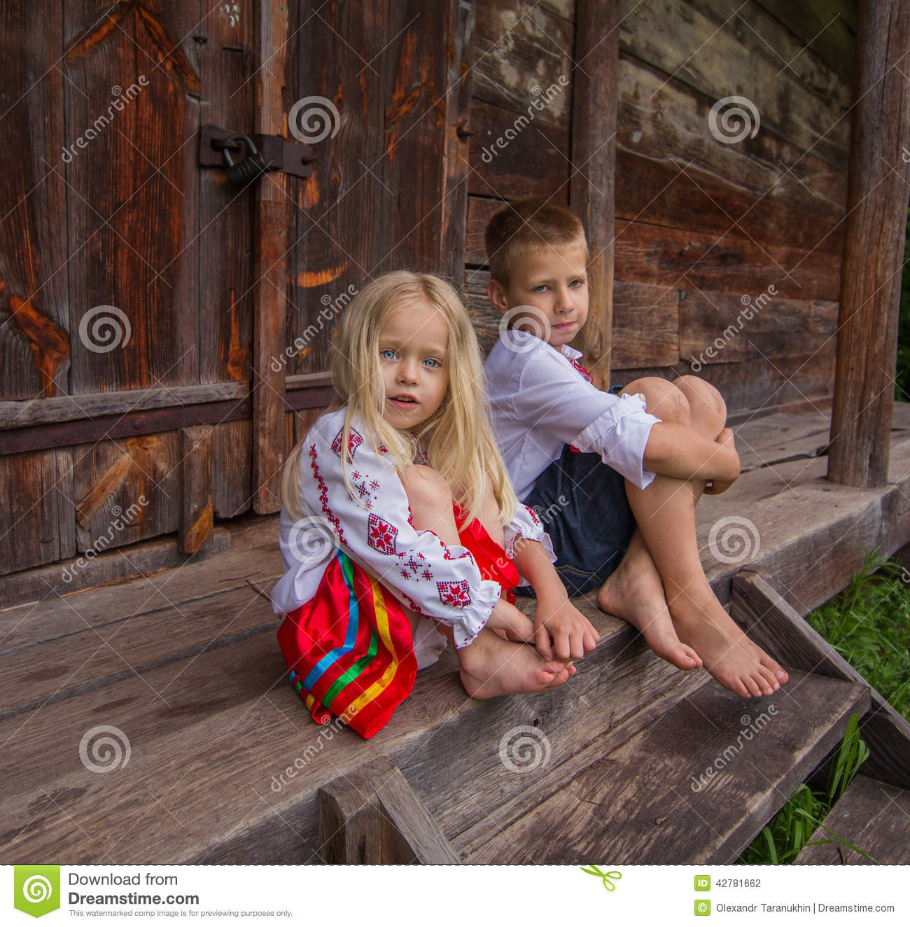 Boy And Girl Wallpaper Hd Download Ukrainian Children Near Old Wooden House Stock Photo